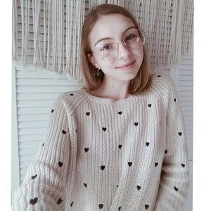 LAUREN CONRAD Cream Heart Cropped Rib Sweater L
